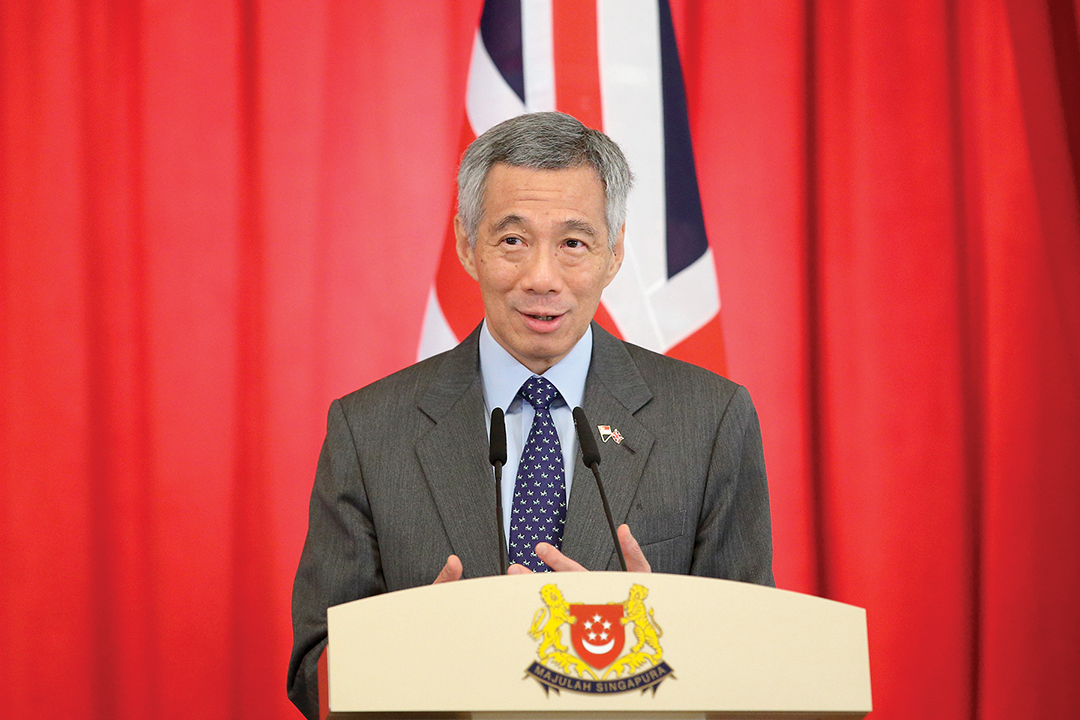 Singaporean Prime Minister Lee Hsien Loong speaks during a news conference in July 2015. AFP/GETTY IMAGES