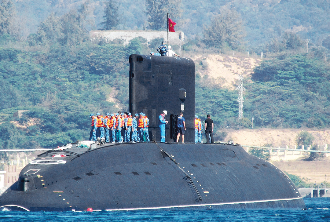 Vietnam's first Kilo-class submarine launches at Cam Ranh Bay. AFP/GETTY IMAGES