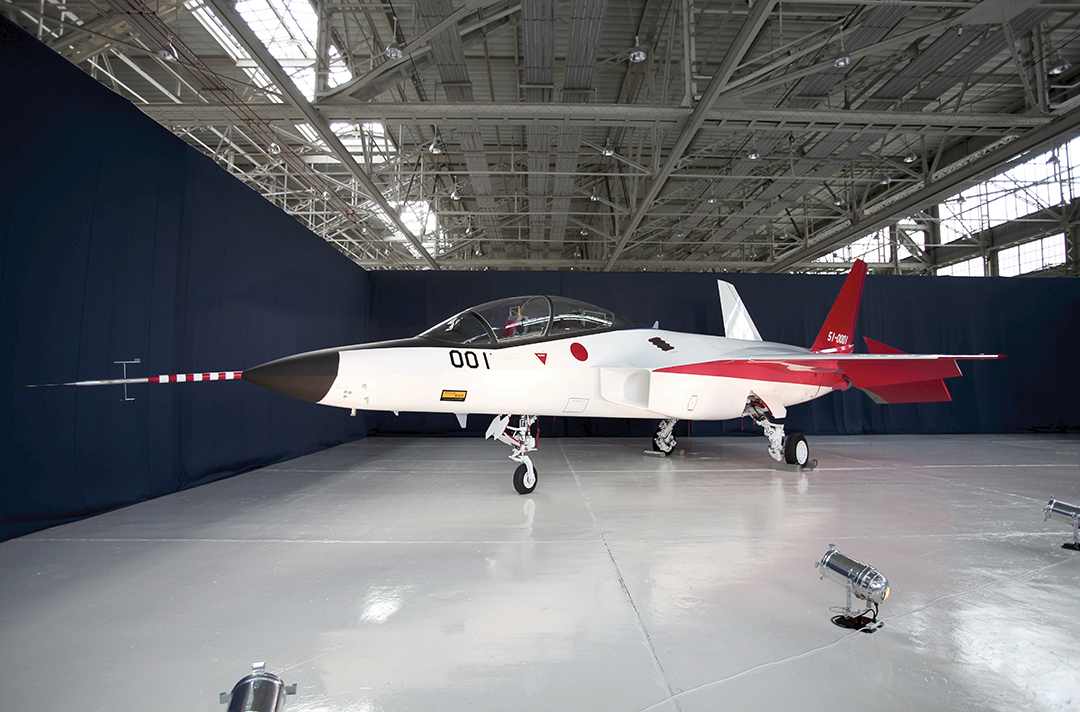A prototype of the first Japanese-made stealth fighter is parked in a hangar in January 2016. REUTERS