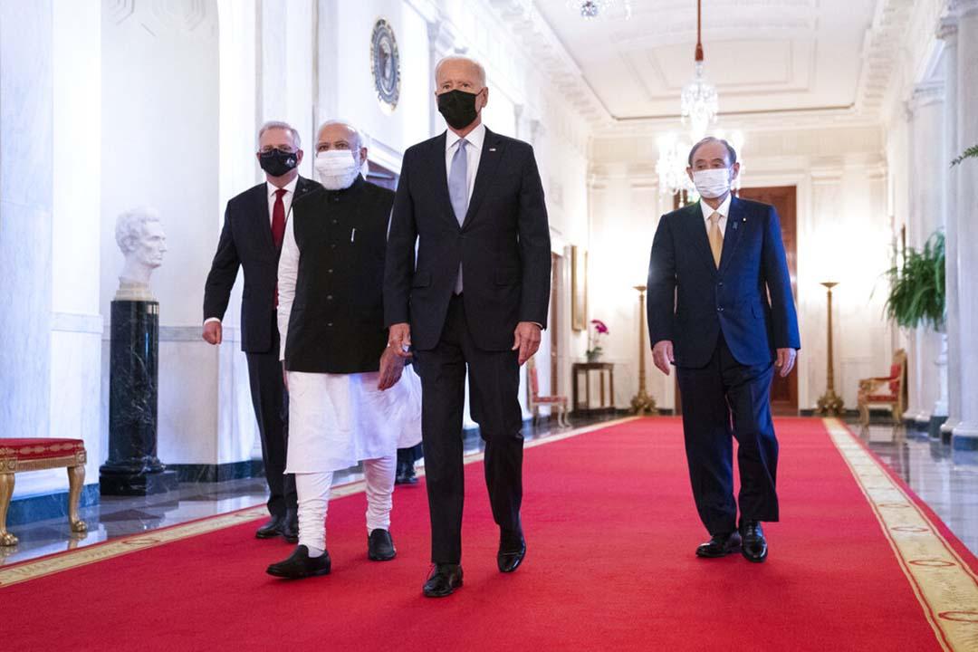 2021年9月下旬にホワイトハウスで開催された日米豪印首脳会談に出席したスコット・モリソン豪首相、ナレンドラ・モディ印首相、ジョー・バイデン米大統領、菅義偉首相